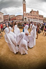 Palio di Siena, Italy. Nuns visiting the racetrack and the square before the start of the race. Photo taken with a Nikkor 10.5mm fisheye (Nicola Zingarelli) Tags: old costumes summer horses people italy travelling classic tourism colors race start square dangerous italian support colorful colours torre flag awesome traditional crowd hard fast competition august run tourist flags traveller tuscany winner brave siena tradition crush lupa palio holydays multitude supporters touristattractions giraffa fearless oca piazzadelcampo mossa tuscan turism onda holyday palazzocomunale toscany compete contrada civetta jokeys tartuca nicchio paliodisiena touristdestination istrice touristdestinations holydais paliodellassunta liocorno colorfulcontrast flagsexhibition flagsgames middleageparade monumentalsquarebeautiful