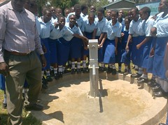 Students of St.Mary's Girls High School at there water point source during hand over ceremony