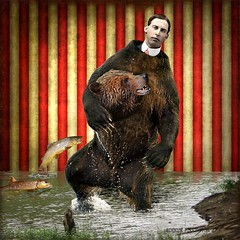 ~ The Bear Suit ~ (Denise Purrington {{say hello to my Little Bears:)) Tags: bear fish man texture water vintage river book antique memories shore layers grizzly bearsuit flickrdiamond magicunicornverybest