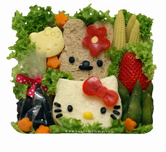 Another Hello Kitty Bento! (LoveBones) Tags: hello school seaweed cute cheese lunch strawberry kitty sandwich kawaii bento carrots edamame sweetcorn nori driedcranberries blackolives babycorn redbellpepper soyabread