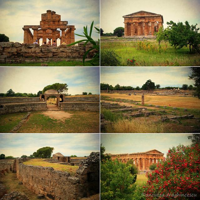 collage foto del sito archeologico di Paestum in Campania Italia