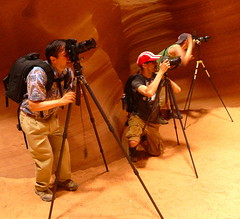 Three Photographers with Three Tripods (Oh Kaye) Tags: arizona three photographers page tripods navajoreservation rockformations upperantelopecanyon ourdailychallenge