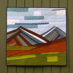 Rob's Mountain Quilt (Spotted Stone Studio {Krista}) Tags: abstract mountains alaska modern landscape quilt patchwork solid shotcotton