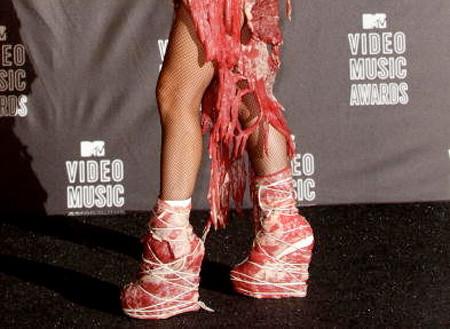 Леди Гага в туфлях из мяса на  MTV Music Awards.