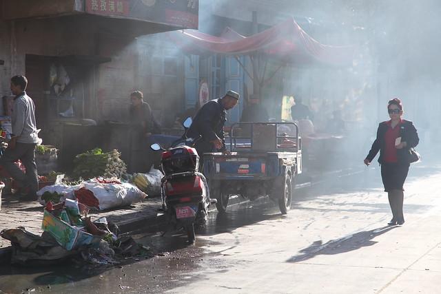 カシュガル旧市街の朝