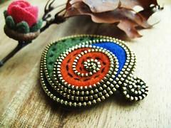 Free form felt and zipper brooch (woolly  fabulous) Tags: green leaves pin recycled brooch felt zipper woollyfabulous