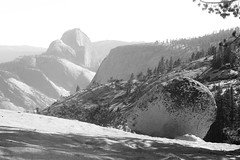 near and far (alanak) Tags: blackandwhite yosemite halfdome olmsteadpoint