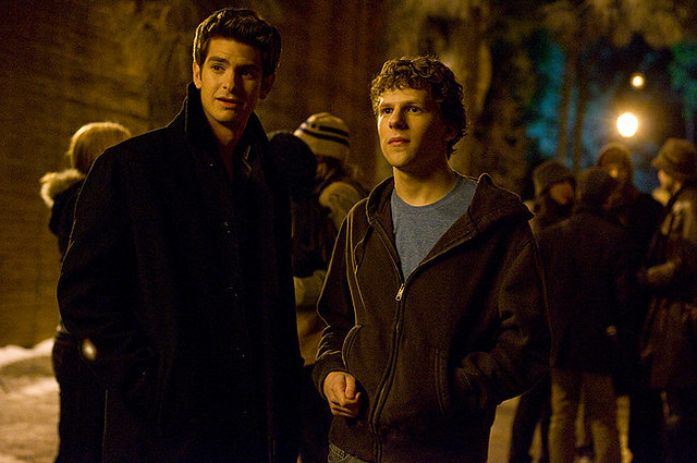 Andrew Garfield and Jessie Eisenberg butt heads in 'The Social Network'.