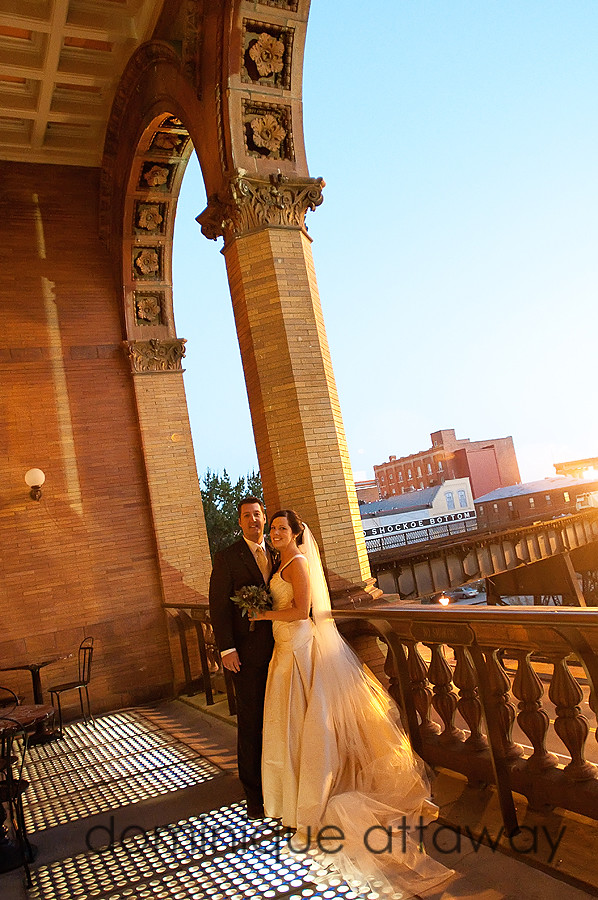 newly weds on the patio of main street station in Richmond