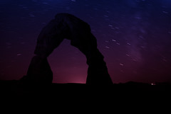 Delicate Arch-Night 1 (Wayne Stadler Photography) Tags: park travel autumn sunset red cliff fall nature rock stone night stars utah sandstone arch darkness natural dusk arches national photograph moab delicate wonders attractions formations