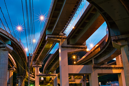 [フリー画像] 建築・建造物, 道路・線路, 夜景, 日本, 201011091900