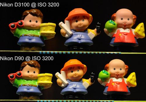 Nikon D3100 vs Nikon D90 @ ISO 3200