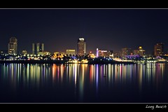 long beach (Eric 5D Mark III) Tags: california city longexposure light color reflection building night river landscape downtown cityscape atmosphere wideangle longbeach tone losangelesriver ef24105mmf4lisusm