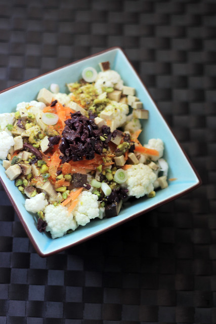 Cauliflower, Carrots, Smoked Tofu and Olives