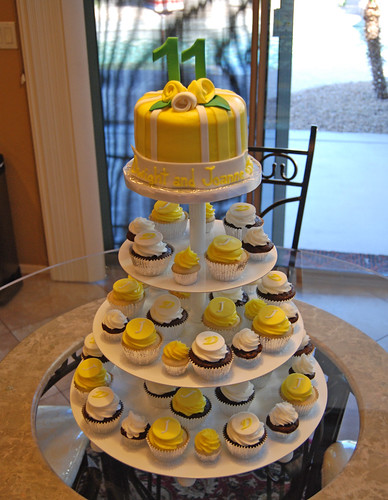 Yellow and Emerald Green 11th Wedding Anniversary Cupcake Tower