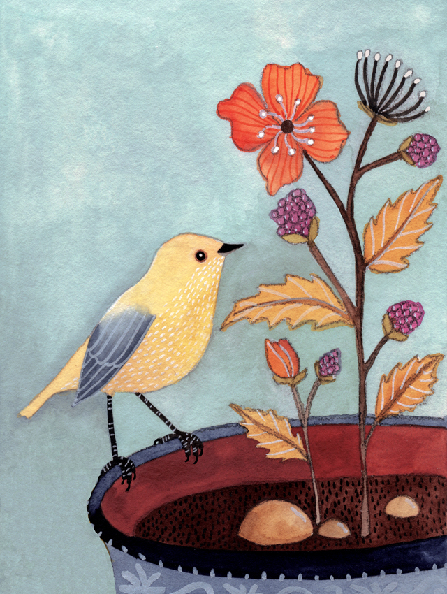 Bird with potted flower