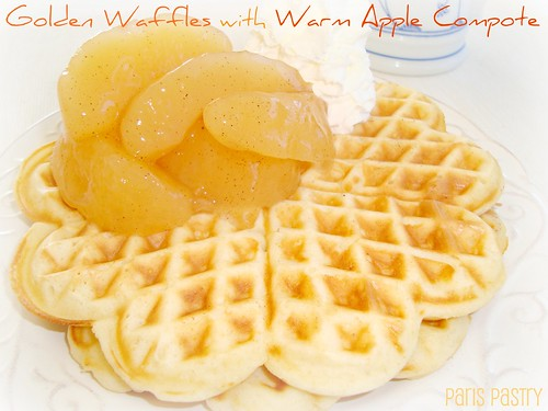 Golden Waffles with Warm Apple Compote