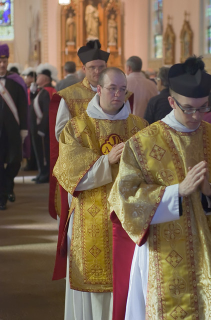 Father David Kemna, FSSP, at Saint Francis of Assisi Catholic Church, in Portage des Sioux, Missouri, USA - clergy processing out