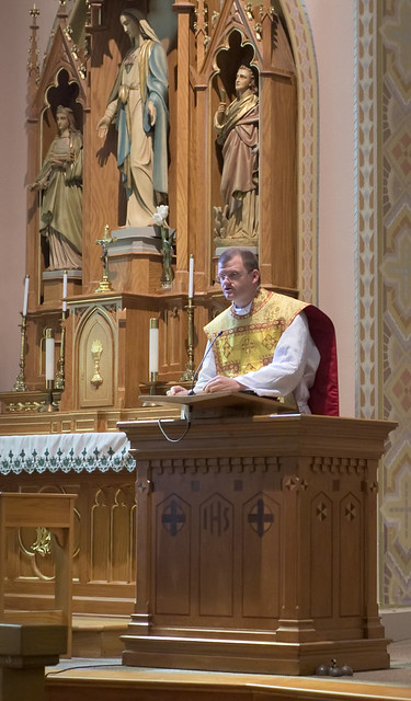 Father David Kemna, FSSP, at Saint Francis of Assisi Catholic Church, in Portage des Sioux, Missouri, USA - homily