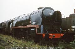 1977 - Cosmetic Restoration.. (Robert Gadsdon) Tags: wales geotagged rust pacific steam barry scrapyard 1977 battleofbritain bulleid woodhams 34058 geo:lon=3277681 geo:lat=51396739