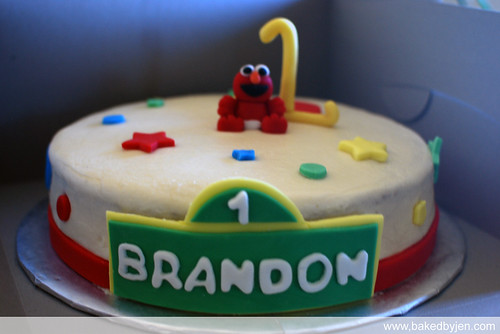 baby elmo theme first birthday cake