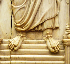 Byzantine panel with archangel, detail of feet