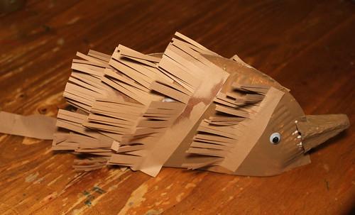 Paper plate Echidna craft