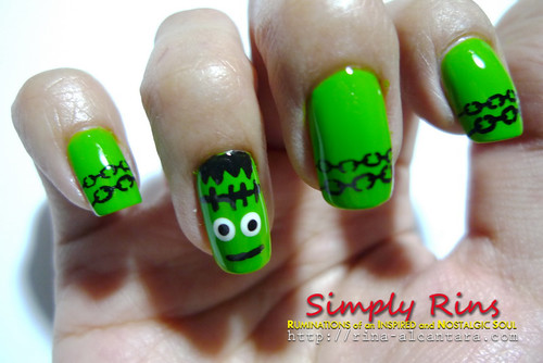 Nail Art Halloween Frankenstein 03