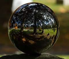 (lookseeseen) Tags: distortion reflection fall cemetery graveyard leaves mirrorball