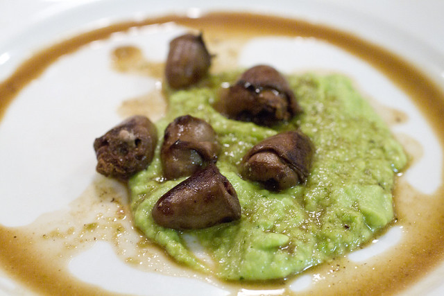 Duck Hearts and Pea Puree