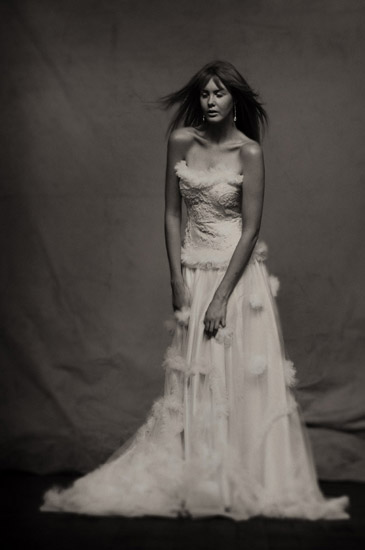 Couture Studio Fashion, Bridal with Train. Photographed by Kent Johnson.