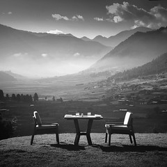 Table For Two (Hengki Koentjoro) Tags: morning white mist mountain black nature beauty fog breakfast sunrise square table landscape village bhutan chairs hills highland huge layers exclusive emotive lavish