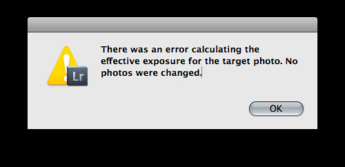 Lightroom Match Total Expsoures Error