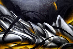 glowing stone (mrzero) Tags: orange grey gallery exhibition canvas spraypaint zero cfs mrzero coloredeffects