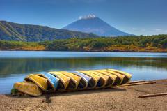 Saiko  (Paul in Japan) Tags: mountain lake nature japan landscape volcano boat fuji saiko   hdr yamanashi tonemapped nikonafsnikkor28300mmf3556gedvr