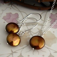 Custom order bronze coin pearl set in sterling silver