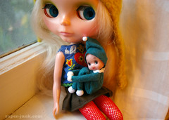 the littlest kneehugger (Super*Junk) Tags: christmas vintage holidays dolls handmade sewing crafts makeup retro pixie elf blythe imp westley kitchy