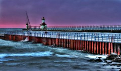 Rough Waters (radarbrat photography) Tags: pictures sunset people lighthouse eye beach sailboat canon photography photo pretty walk michigan indianapolis picture stjoseph indiana lakemichigan walkway catwalk breakwater foghorn roughwater radarbrat