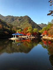 Naejangsan Provincial Park-South Korea (mikemellinger) Tags: trees lake color reflection fall nature water beauty leaves pagoda scenery southkorea coth naejangsan