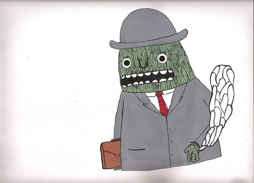 green monster in grey suit