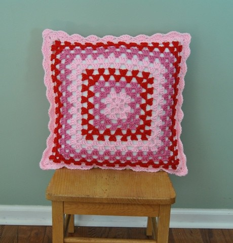 shades of red granny pillow