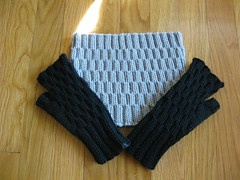 Jane's set (bowerbirdknits) Tags: gift textured mitts knitpicks fingerless cowl lacunae annehanson