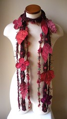 Long and Leafy Scarf with Embroidered Leaves- Deep Fuchsia Wine with Cerise Pink and Vermillion Berries (Betsie Withey) Tags: flowers motion tree art nature leaves mi forest scarf woodland botanical leaf women knitting wine felting embroidery michigan burgundy unique crochet creative inspired knit free vine folklore elf fantasy jungle imagination accessories organic etsy wearable fiberart embroidered saugatuck faerie enchanted donegaltweed arttowear pomegrante arantweed artscarf fairyfairywear