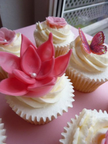 Close up of pink fondant flower