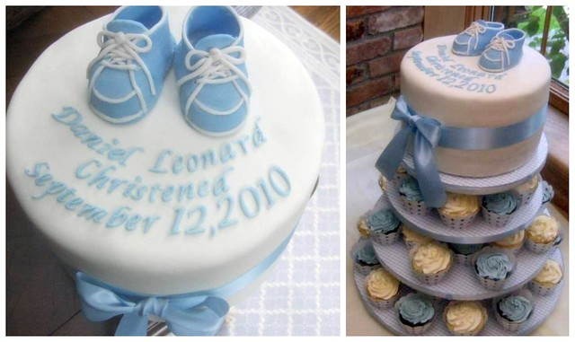 christening cake and cupcake tower for baby boy