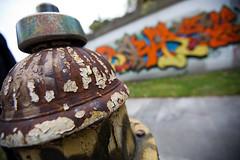 Patina (Rudy Malmquist) Tags: old texture hydrant fire bokeh antique michigan detroit graffitti