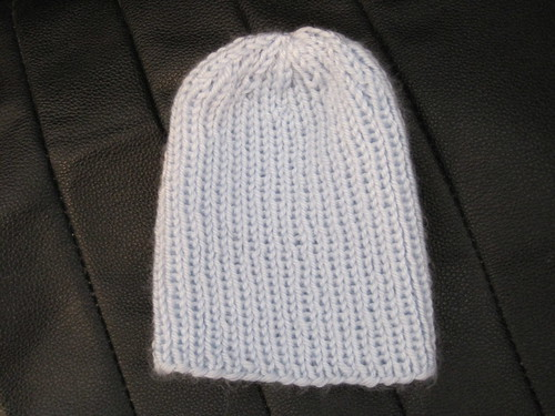 Blue satin hat knit by Somer