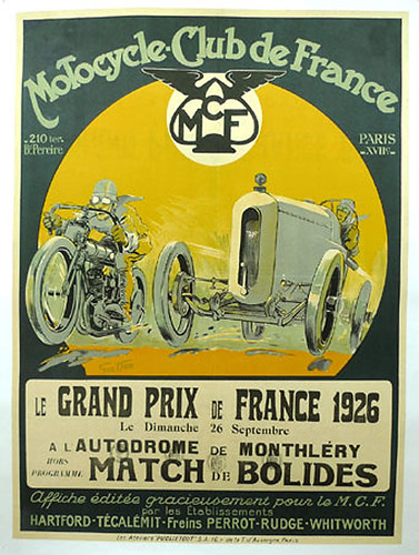 003-Grand Prix de France 1926, Motorcycle Club de France-© 2010 Vintage Auto Posters. All Rights Reserved