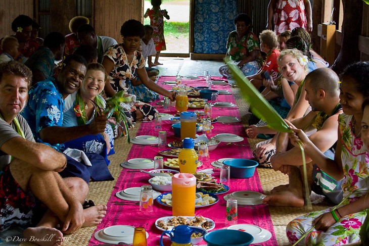 feast at village in fiji after Kava ceremony