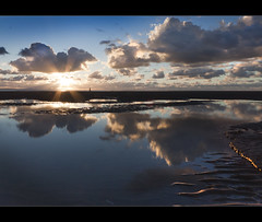 Walking in the clouds, another tog Crosby beach, Explore Frontpage (Ianmoran1970) Tags: sunset sky cloud sun reflection beach water wonderful person boots explore walker flare frontpage muddyboots explored ianmoran ianmoran1970